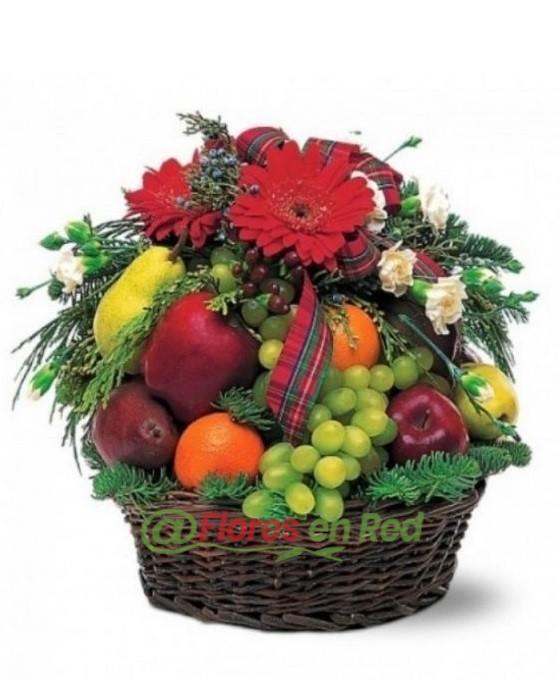 Cesta de Frutas y Gerberas