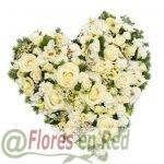 Corazón Funerario Blanco Rosas