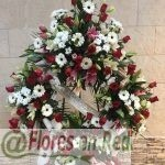 Corona Funeral Roja y Blanca