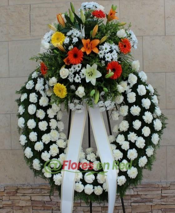Corona Funeraria Blanca y Naranja