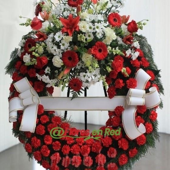 Corona Funeraria Roja y Blanca