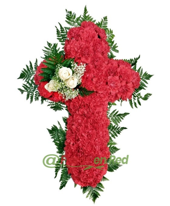 Cruz Funeraria Clavel Rojo