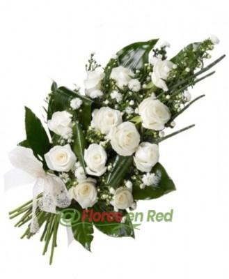 Ramo Funerario de 12 Rosas Blancas