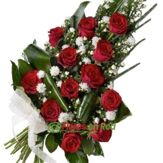 Ramo Funerario de 12 Rosas Rojas