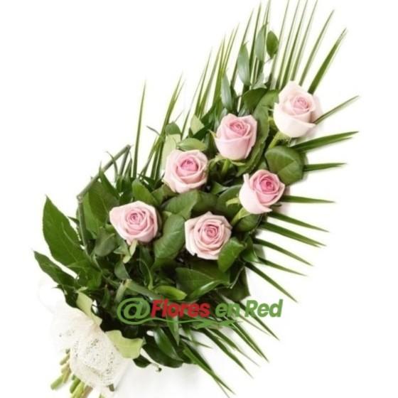 Ramo Funerario de 6 Rosas Rosas