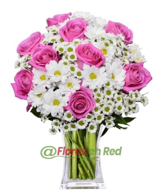 Enviar Ramo de Rosas y Margaritas Blancas