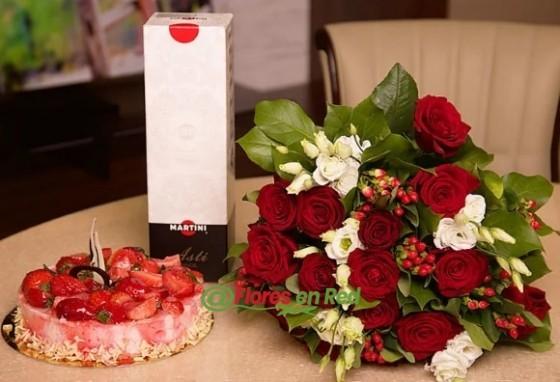 14 Rosas, Martini y Tarta de Regalo