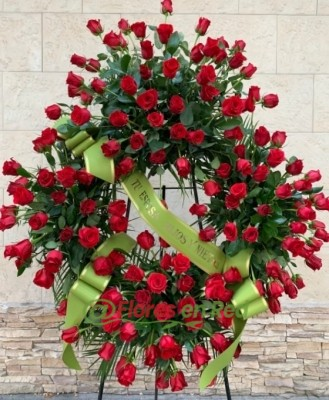 Corona Funeraria Roja, Flores en Red