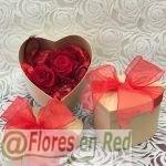 2 Rosas Rojas Preservadas Caja Corazón