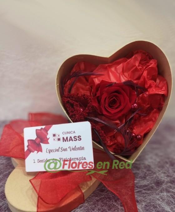 Rosa Eterna Roja con Masaje San Valentín