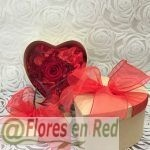 Rosa Roja Preservada Caja Corazón